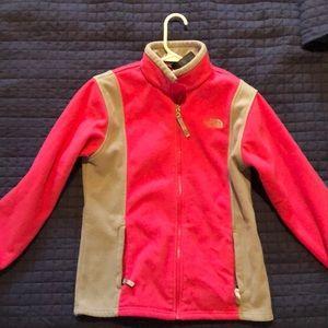 north face women's pink small fleece jacket